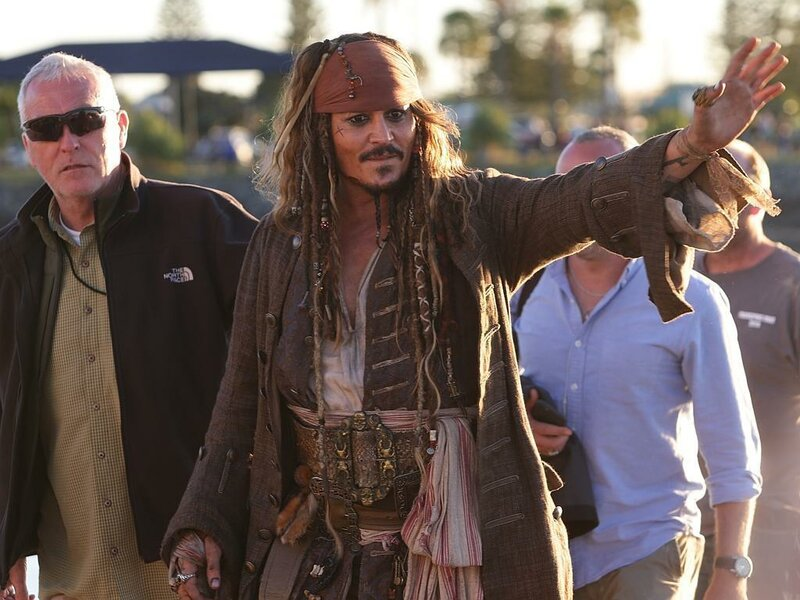 Весельчак Джонни Депп на съемках «Пиратов Карибского моря»